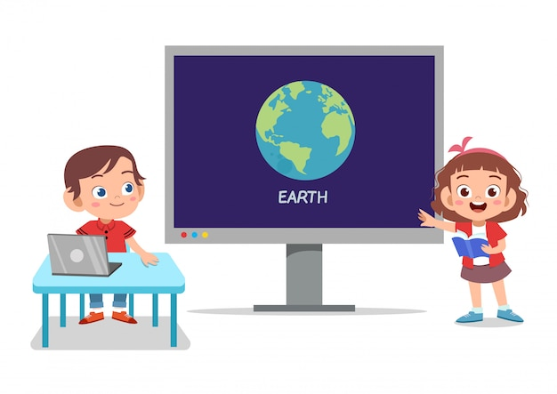 Crianças tecnologia terra
