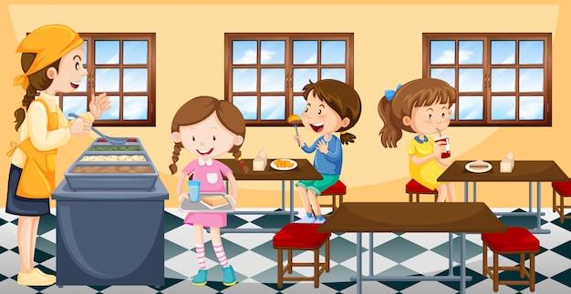 Crianças, tendo almoço, em, cantina