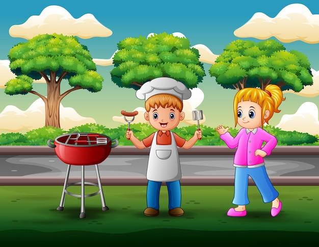 Crianças, tendo, churrasco, em, quintal