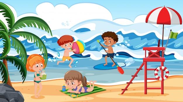 Crianças, tendo divertimento, ligado, cena praia