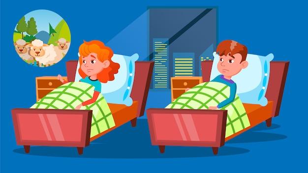 Crianças tendo personagens insônia problema desenhos animados