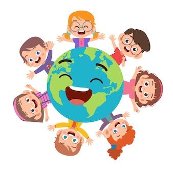 Crianças, terra dia, ilustração