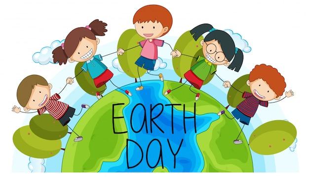Crianças, terra, dia, logotipo