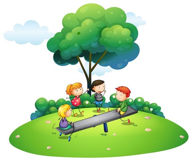 Crianças, tocando, balanço, parque