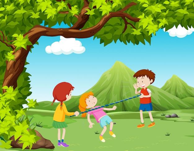 Crianças, tocando, barra música, parque