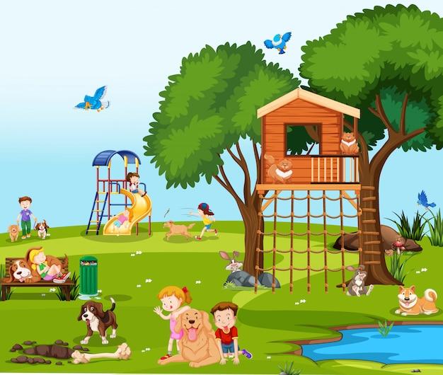 Crianças, tocando, com, animais estimação, parque