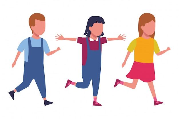 Crianças, tocando, desenhos animados