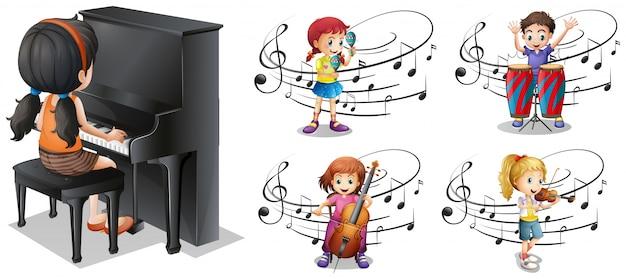 Crianças tocando diferentes instrumentos musicais