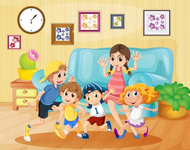Crianças, tocando, em, a, sala de estar