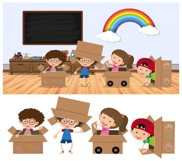 Crianças, tocando, em, caixas, branco