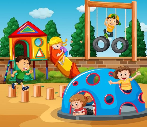 Crianças, tocando, em, pátio recreio, ilustração