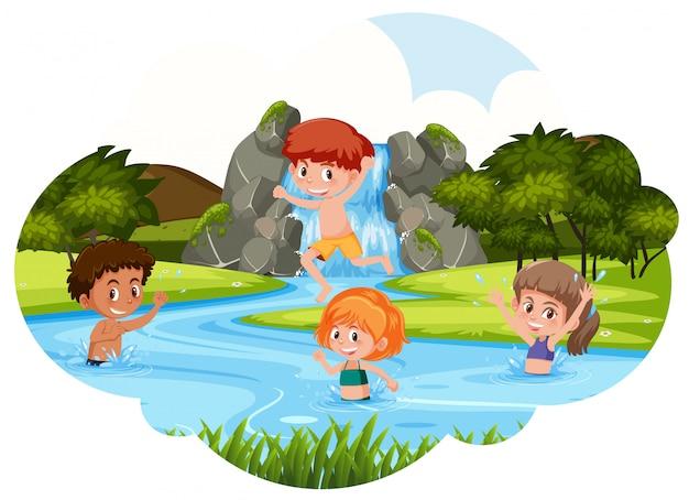 Crianças, tocando, em, rio