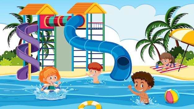 Crianças, tocando, em, um, waterpark
