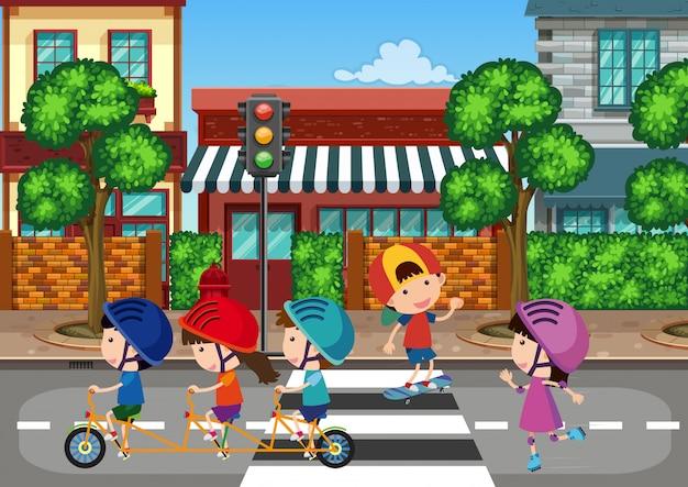 Crianças, tocando, em, urbano, cidade