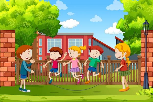 Crianças, tocando, exterior, cena