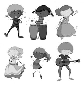 Crianças, tocando, instrumento musical