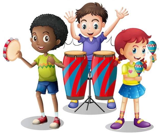 Crianças, tocando, instrumentos musicais, junto