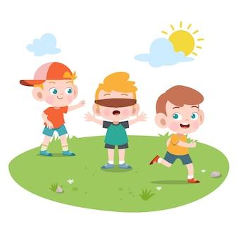 Crianças, tocando, junto, vetorial, ilustração