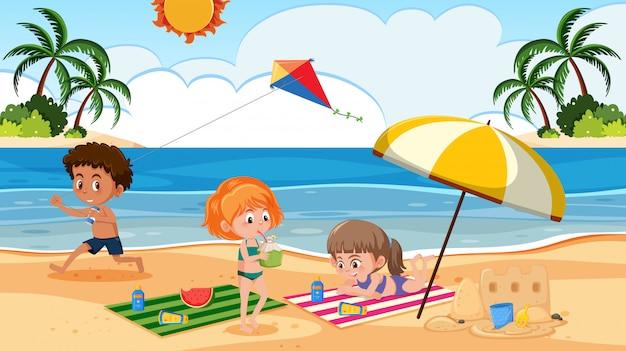 Crianças, tocando, ligado, praia