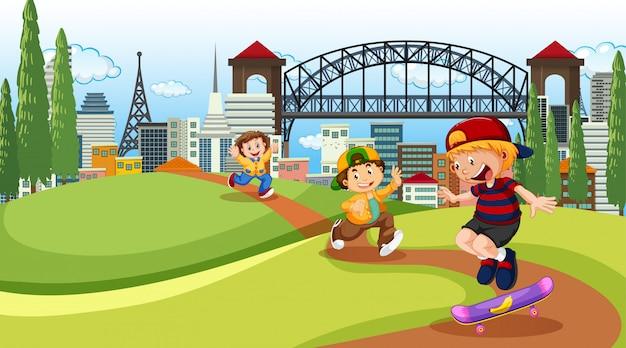 Crianças, tocando, parque cidade