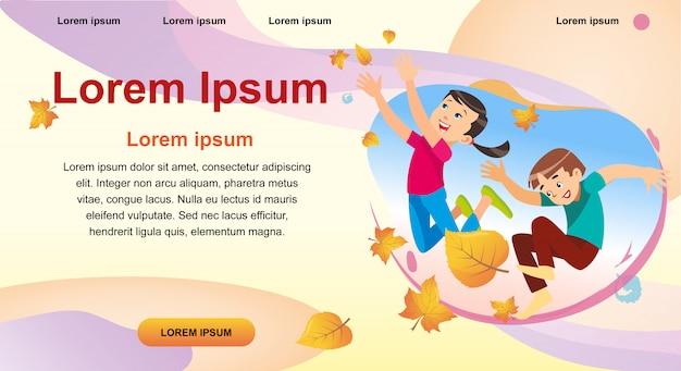 Crianças, tocando, parque, vomitando, folhas
