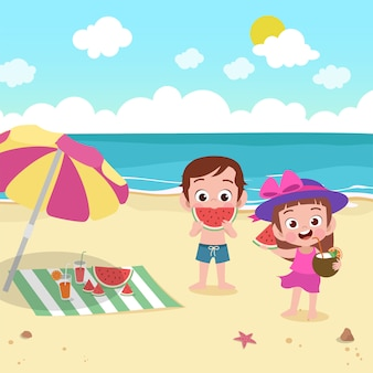 Crianças, tocando, praia, ilustração