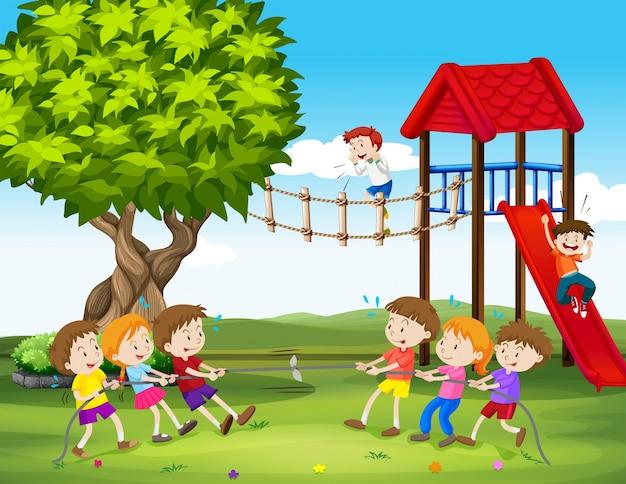 Crianças, tocando, puxão, guerra, pátio recreio, ilustração