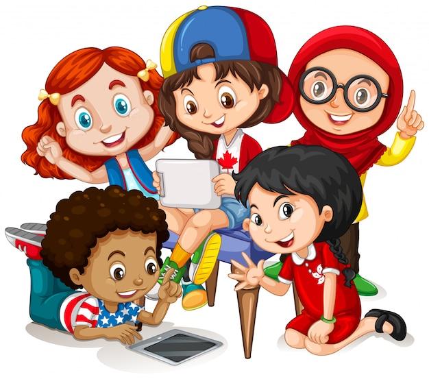 Crianças, trabalhando, grupo