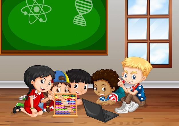 Crianças trabalhando na sala de aula