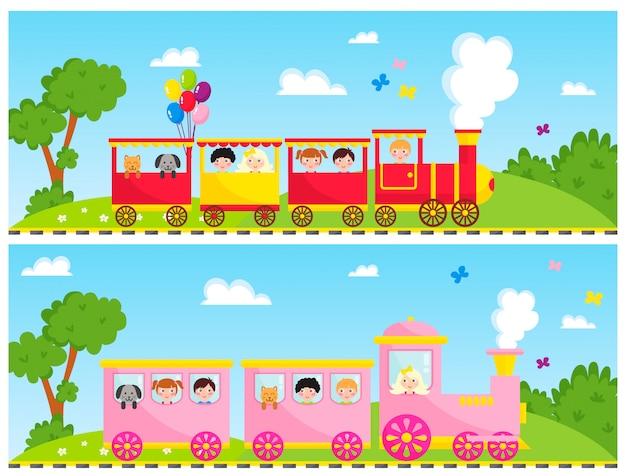 Crianças treinam brinquedo de desenho vetorial com blocos de locomotiva colorida jogo de transporte ferroviário