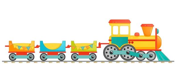 Crianças treinam brinquedos em estilo cartoon. ilustração vetorial isolada no fundo branco.