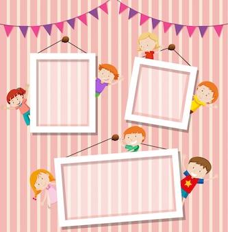 Crianças um fundo de moldura de foto