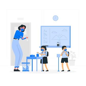 Crianças usando desinfetante para as mãos na ilustração do conceito de escola