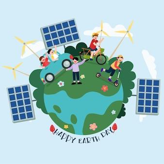 Crianças usando energia renovável caminhando