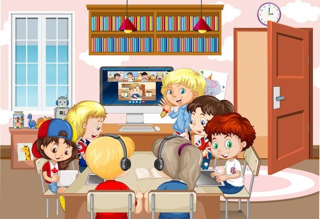 Crianças usando laptop para se comunicar por videoconferência com o professor e amigos na cena da sala