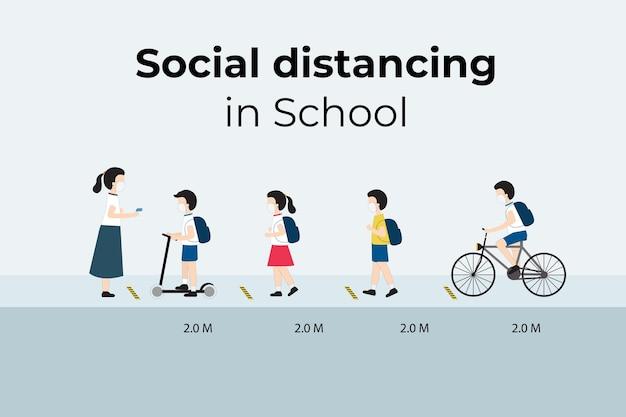 Crianças usando máscara facial com distanciamento social na escola
