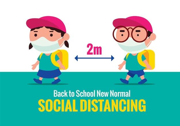 Crianças usando máscara facial mantêm o distanciamento social de volta à escola no novo normal