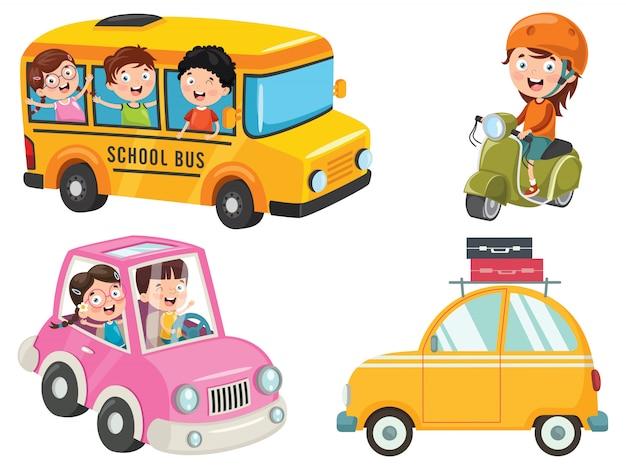 Crianças usando ônibus, moto e carro