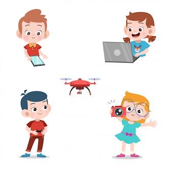 Crianças, usando, tecnologia