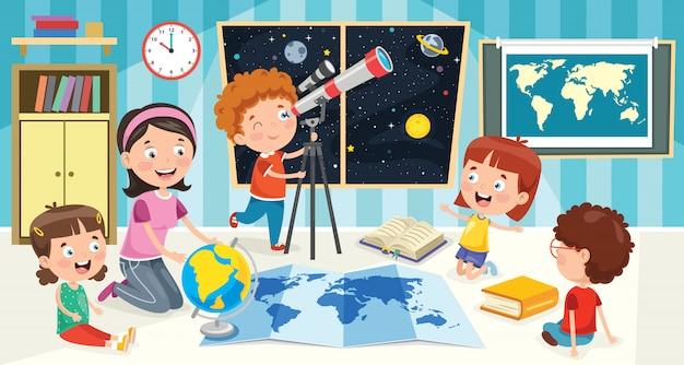 Crianças usando telescópio para pesquisa astronômica