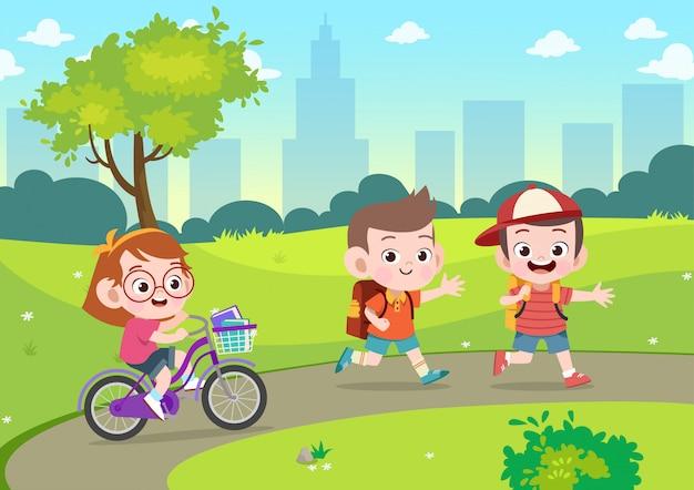 Crianças vão para a escola juntos vector illustration