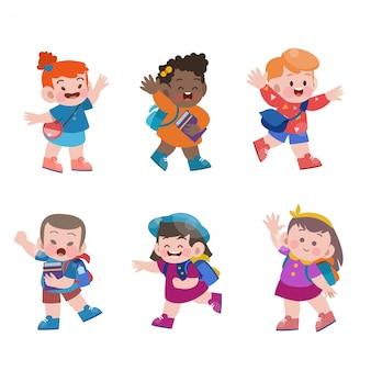 Crianças vão para coleção de ilustração de vetores de escola