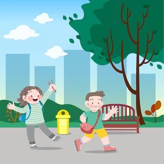 Crianças vão para ilustração vetorial de escola