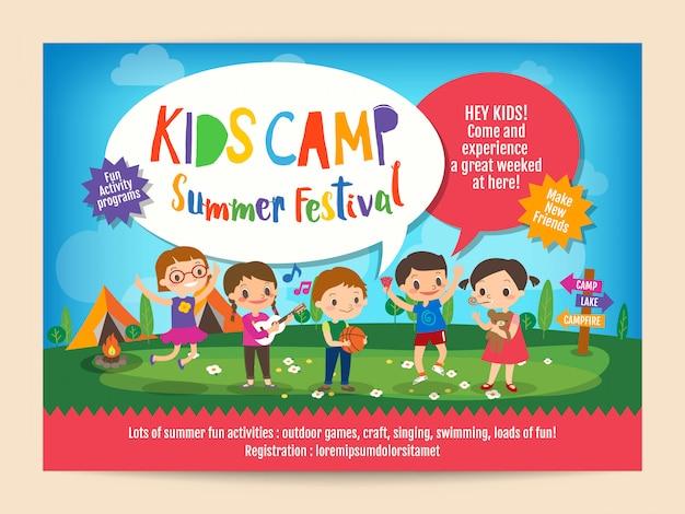 Crianças verão acampamento educação cartaz panfleto