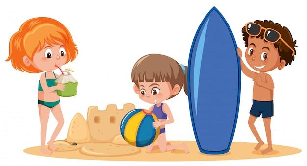 Crianças, verão, praia