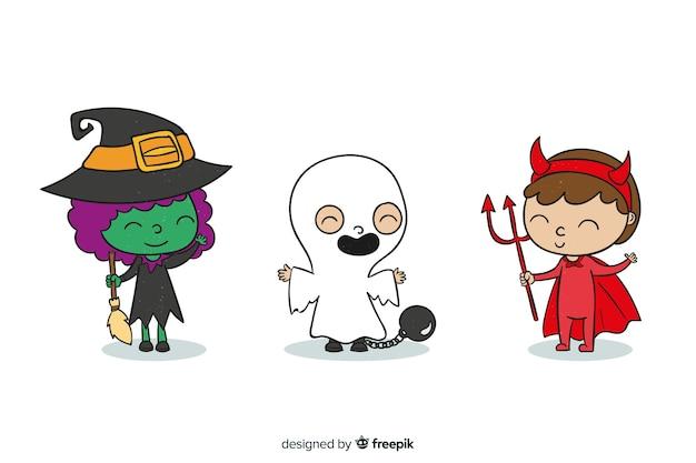 Crianças, vestido, como, monstros, para, dia das bruxas