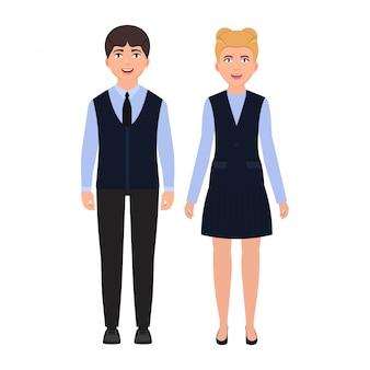 Crianças, vestido, em, uniforme escola