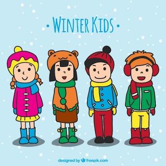 Crianças vestindo roupas de inverno desenhados à mão