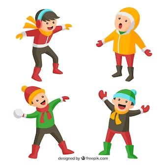 Crianças vestindo roupas de inverno