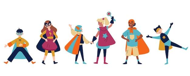 Crianças vestindo trajes coloridos de diferentes super-heróis.